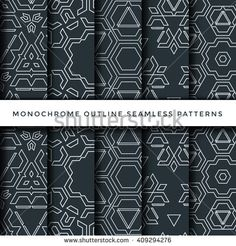 vector light monochrome outline decoration abstract geometric seamless patterns…