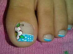 Cute Pedicure Designs, Toenail Art Designs, French Nail Designs, Pretty Toe Nails, Cute Toe Nails, Toe Nail Art, Acrylic Nails Coffin Short, Blue Acrylic Nails, Blue Nails
