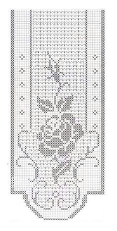 Filet trittico - Another! Filet Crochet Charts, Crochet Motifs, Crochet Borders, Crochet Stitches, Embroidery Stitches, Embroidery Patterns, Crochet Curtain Pattern, Crochet Table Runner Pattern, Crochet Curtains