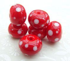 Light Red Random Polka Lampwork Beads by shineon2 on Etsy, £10.50
