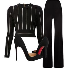 A fashion look from September 2015 featuring Balmain tops, MaxMara pants and Christian Louboutin pumps. Browse and shop related looks. Mens New Years Eve Outfit Mode Chic, Mode Style, Business Outfits, Business Attire, Mode Outfits, Fashion Outfits, Womens Fashion, Ladies Fashion, Korean Outfits