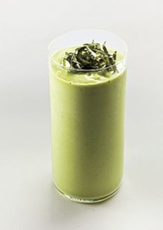 Avacado Smoothie    1 ripe avocado, halved and pitted  1 1/4 cups whole milk  1 1/2 tablespoons fresh lime juice  1 tablespoon sugar  1 tablespoon fresh basil, chopped  Basil, thinly sliced