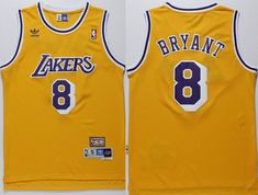 d41b1bbad90 Lakers  8 Kobe Bryant Gold Throwback Stitched NBA Jerseys
