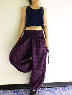 Thai Women Clothing Natural Cotton Trousers Comfy Purple (TCC19)