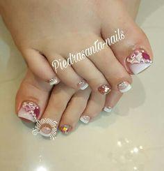 Pedicure Nail Art, Toe Nail Art, Acrylic Nails, Toenail Art Designs, Toe Nail Designs, Pretty Toe Nails, Pretty Toes, Cute Pedicures, Pink Nail Art