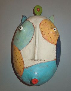 calico cat clay wall piece by murtondishes on Etsy