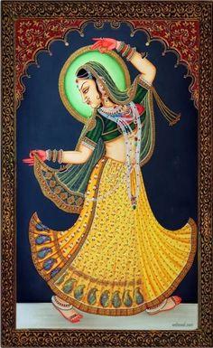 Rajasthani painting artwork woman dance by Pichwai Paintings, Mughal Paintings, Krishna Painting, Indian Art Paintings, Madhubani Painting, Krishna Art, Rajasthani Miniature Paintings, Rajasthani Painting, Rajasthani Art