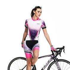 SANTIC Women's Short Sleeve Polyester+Spandex Breathable Cycling Suit Purple – USD $ 42.99