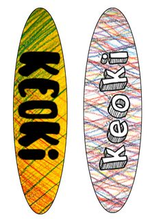 keoki surfboard designs using pencil markings
