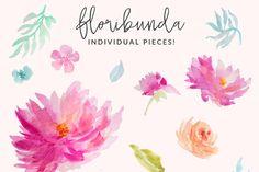 Floribunda Watercolor Flowers by Angie Makes on Creative Market