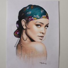 Rihanna by German Artist Dmitry Vysotsky Amazing Drawings, Realistic Drawings, Colorful Drawings, Art Drawings Sketches, Colored Pencil Portrait, Color Pencil Art, Art And Illustration, Rihanna Drawing, Art Visage