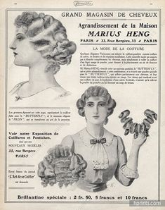 Marius Heng (Hairstyle) 1912 Hairpieces, Postiches, Wig