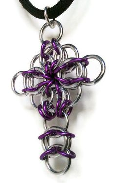 Cross pendant #chainmail #cross cross #necklace by SteelnStitches, $9.00