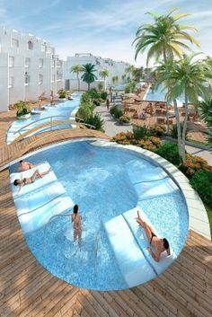Hard Rock Hotel Ibiza, Playa d'en Bossa Ibiza, swim ups Beautiful Islands, Beautiful World, Beautiful Places, Tulum, Hard Rock Hotel Ibiza, Playa Den Bossa, Ibiza Formentera, Ibiza Beach, Luxury Pools