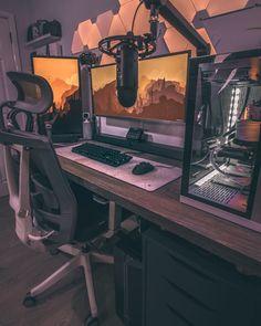 Home Office Setup, Home Office Design, Workspace Design, Basement Office, Gaming Desk Setup, Computer Setup, Computer Gaming Room, Best Pc Setup, Set Up Gamer