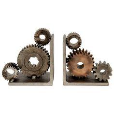 Industrial Gear Bookends