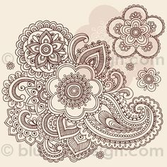 Huge Ornate Henna Paisley Doodle Tattoo Flower and Swirls by blue67design by blue67design, via Flickr 98.Pattern | tattoos picture tattoo flowers