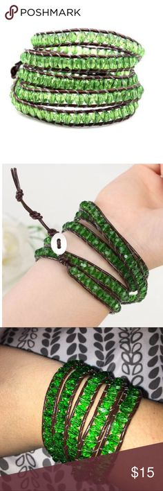 "Green Ivey Wrap Bracelet Green Ivey Wrap Bracelet from Florence Scovel. Has oval button with three adjustable closures that measure 32""/33""/34"" in length. Brand new, never worn. Florence Scovel Jewelry Bracelets"