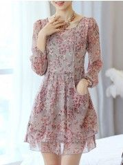 Round Neck With Pockets Floral Printed Skater-dresses