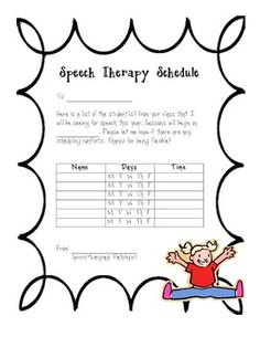 Speech Therapy Schedule - Let Teachers Know When Students Have Speech