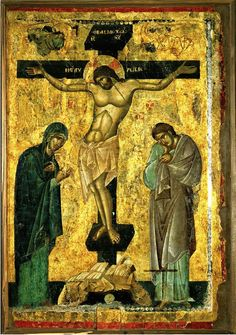 Crucifixion with the Virgin and the Apostle John Material: Tempera on wood panel, gold Dimensions: 98 x 68 cm Dating: second half 13th century (?).