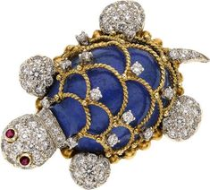 Lapis, diamond, ruby, and gold turtle.