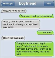 OMG this is cute but I would be freaking out with the 2nd message he sent!