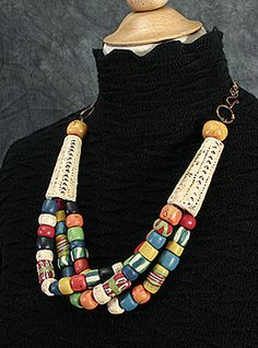 Faux Bone and Tradebead Necklace by DorothySiemens, via Flickr