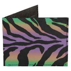 Rainbow Zebra Striped Animal Print Billfold Wallet   #zebra  #rainbow  #animalprint