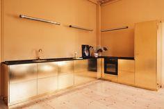 Danish fashion designer Stine Goya appointed brand Reform to upgrade standard IKEA cabinetry into polished brass kitchen Ikea Kitchen Design, Ikea Kitchen Cabinets, Brass Kitchen, Home Decor Kitchen, Interior Design Kitchen, Country Kitchen, Showroom Design, Ikea Custom, Studio Kitchen