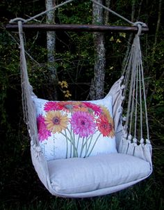 very very cute--Gerbera Daisy Indoor/Outdoor Swing Chair Outdoor Gardens, Indoor Outdoor, Outdoor Decor, Outdoor Swings, Garden Swings, Outdoor Art, Outdoor Spaces, Dream Garden, Home And Garden