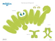 Blog Paper Toy papertoy Monsters Inc Mike Wazowski template prview Papercraft Mike Wazowski (Monstres et cie)