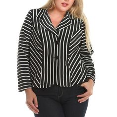 SALE!🎉Plus size black & white striped knit blazer NWT. A modern, stretchy women's knit blazer with a flattering fit and stylish black and white striped pattern, perfect for the curvy girl!   Made in USA.  Fabric Content: 87% Polyester, 10% Rayon, 3% Spandex.   Size Guide: 1X: 14W-16W.  2X: 18W-20W.  3X: 22W-24W Jackets & Coats Blazers