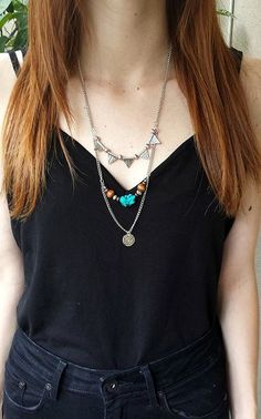 Multi Strand Layer Silvertone Triangle Turquoise Stone Bohemian Necklace by Lycidasjewelry on Etsy Bohemian Necklace, Ss 15, Turquoise Stone, Turquoise Necklace, Triangle, Layers, Trending Outfits, Unique Jewelry, Etsy