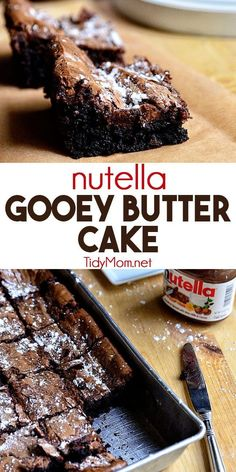 Nutella Gooey Butter Cake, Desserts, Nutella adds a delicious twist to a St. Louis tradition, where the cake becomes the crust and holds a gooey cream cheese and Nutella filling. Baking Recipes, Cake Recipes, Snack Recipes, Dessert Recipes, Köstliche Desserts, Delicious Desserts, Yummy Food, Desserts Nutella, Sweet Desserts
