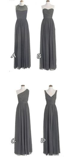 Hot Sales Grey Chiffon Bridesmaid Dresses,A Line Long Bridesmaid Dress,One Shoulder Bridesmaid Gowns,Mismatch Maid of Honor Dress Girls Group Dresses