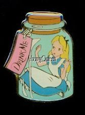 RARE Japan Disney Alice Wonderland Drink Me Alice in Bottle Holy Grail 1995 Pin