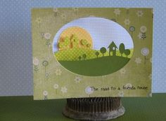 Fun, happy card made with Memory Box die, Modern Landscape - #98257, and MB distressed dots and gingham papers. Card by a MB DT member ~ Memory Box items available at www.stampassion.com