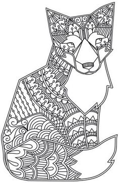 Free coloring page coloring-adult-fox. A beautiful and simple Fox