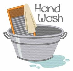 Hopscotch Embroidery Design: Hand Wash 3.85 inches H x 3.91 inches W