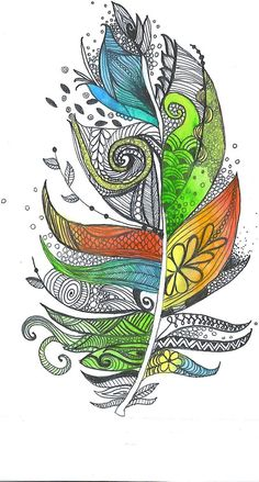 Drawing Rainbow Zentangle Feather - Buscar con Google
