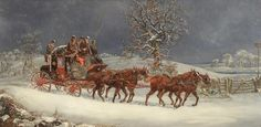 Tennants Auctioneers: Henry Alken (19th Century)</b> <BR>York to London Royal Mail coach in snow<BR>Signed