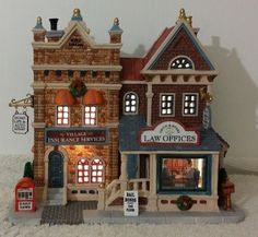 Law Offices and Village Insurance Services, Lemax Caddington Village Lemax Christmas Village, Lemax Village, Christmas Villages, Christmas Traditions, Christmas In The City, Christmas Town, All Things Christmas, Villas, Outdoor Christmas Decorations
