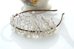 pearl and beaded side tiara Mallorie - The Modern Vintage Bride, inspired vintage tiaras and wedding accessories