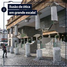 """Já viu um prédio levitando? Em Londres, você pode ver! Uma ilusão de ótica criada para exposição no Covent Garden com uma técnica unindo materiais e a arte do """"quebra-cabeça"""" dão a impressão de que o prédio se dividiu ao meio e está levitando!"""