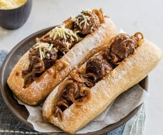 This meatball sub recipe creates the mother of all sandwiches! It's the perfect meal when you're craving a ribsticking bite. Meatball Sub Sandwiches, Meatball Sub Recipe, Meatball Subs, Wrap Sandwiches, Mince Recipes, Beef Recipes, Healthy Recipes, Healthy Food, How To Cook Meatballs