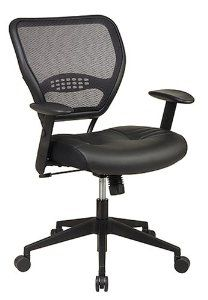 Amazon.com: Office Star Space Professional Air Grid Back Managers Chair with Leather Seat and 2-to-1 Synchro Tilt Control: Home & Kitchen. List $415, Costs $133