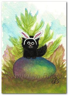 Black Fuzzy Cat Watercolor Easter Bunny Ears   by AmyLynBihrle, $35.00