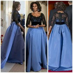 Beautiful, Michelle Obama, wore a Carolina Herrra gown at the White House Dinner. African Traditional Wedding Dress, Michelle Obama Fashion, Dinner Gowns, Shweshwe Dresses, Evening Dresses, Prom Dresses, Dress Vestidos, Mode Vintage, African Dress