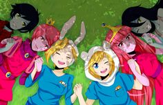 Adventure Time! Marshall Lee, Prince Gumball, Fionna and Cake, Finn and Jake, Princess Bubblegum and Marceline!